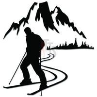 Skiing Mountain Skier Winter Snow Decal Sticker Style 1