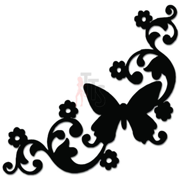 Butterfly Vine Flower Decal Sticker