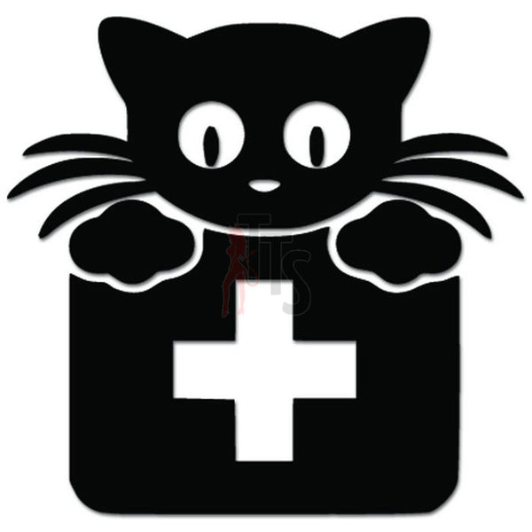 Cute Cat 1st Aid Kit Veterinarian Decal Sticker