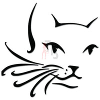 Cat Head Face Long Whiskers Pet Decal Sticker