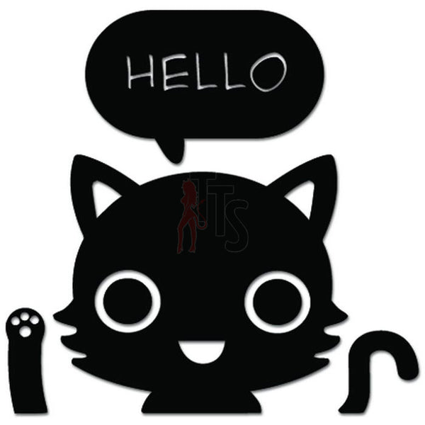 Cat Kitty Pet Says Hello Wave Decal Sticker