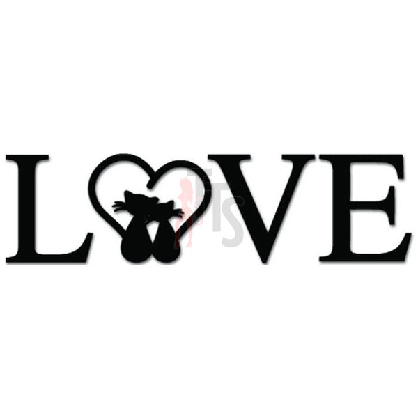 Love Cat Kitt Pet Lover Heart Decal Sticker