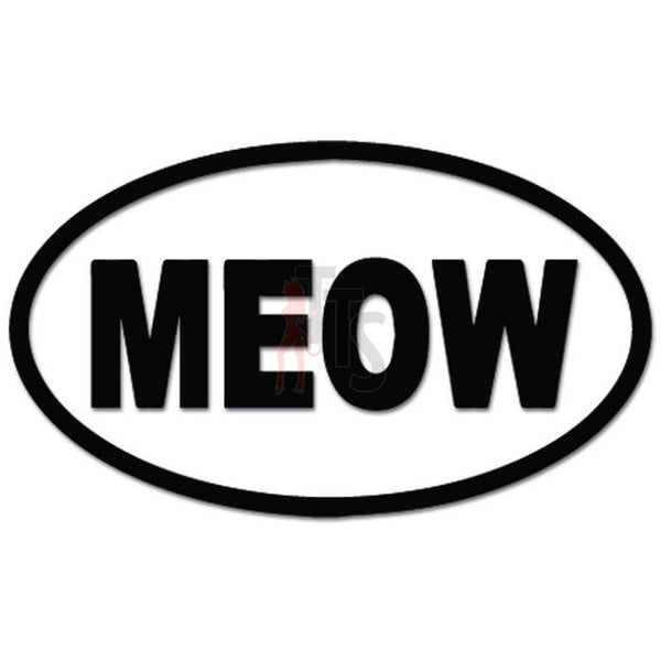 Meow Oval Cat Kitty Decal Sticker