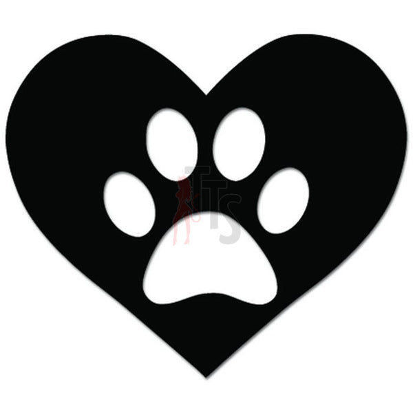 Dog Paw Heart Love Pet Lover Decal Sticker