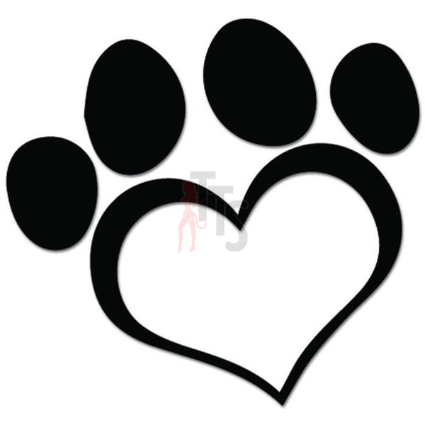 Dog Paw Print Heart Love pet Lover Decal Sticker Style 1