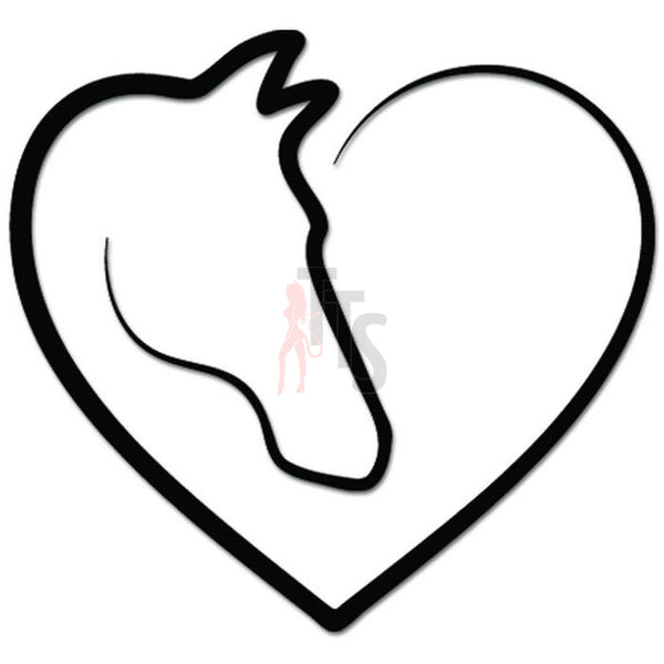 Horse Heart Love Farm Lover Decal Sticker Style 2