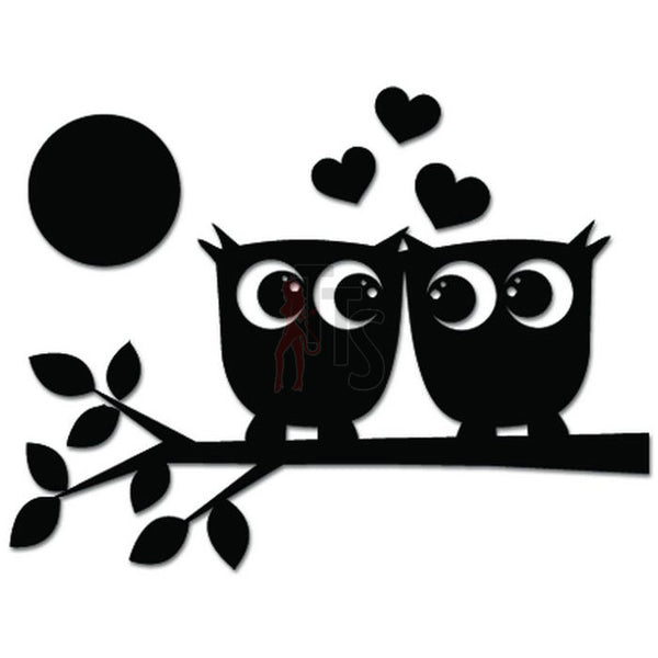 Cute Owl Birds Love Tree Branch Moon Decal Sticker