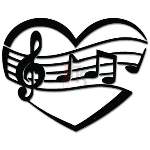 Love Heart Music Notes Decal Sticker Style 2