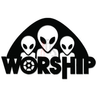 Alien Worship Spaceship Death Decal Sticker