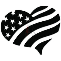 Love Heart American USA American Flag Decal Sticker