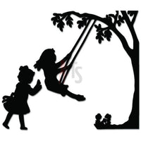 Kids Playing Swing Playground Decal Sticker
