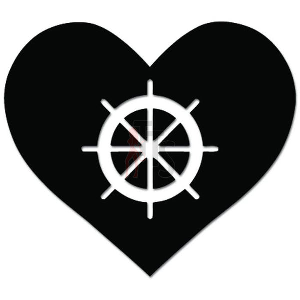 Love Sailing Wheel Rudder Decal Sticker