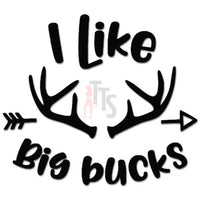 I Like Big Bucks Antlers Deer Hunting Decal Sticker