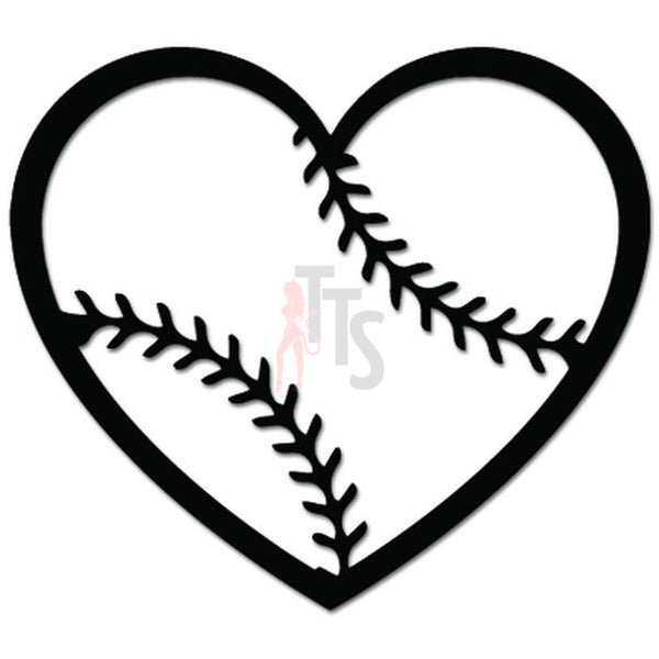 Baseball Heart Love Sports Decal Sticker Style 1