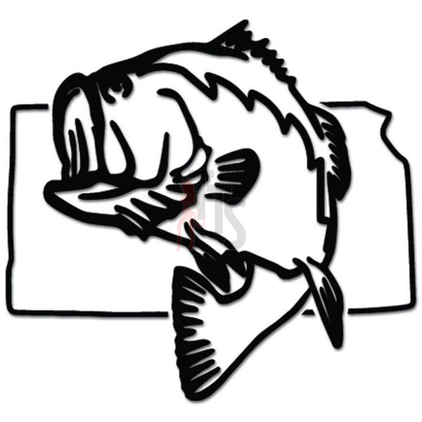 Kansas State Largemouth Bass Fishing Decal Sticker Style 1