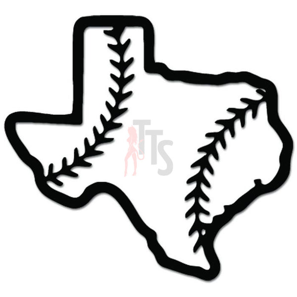 Texas State Map Baseball Sports Decal Sticker