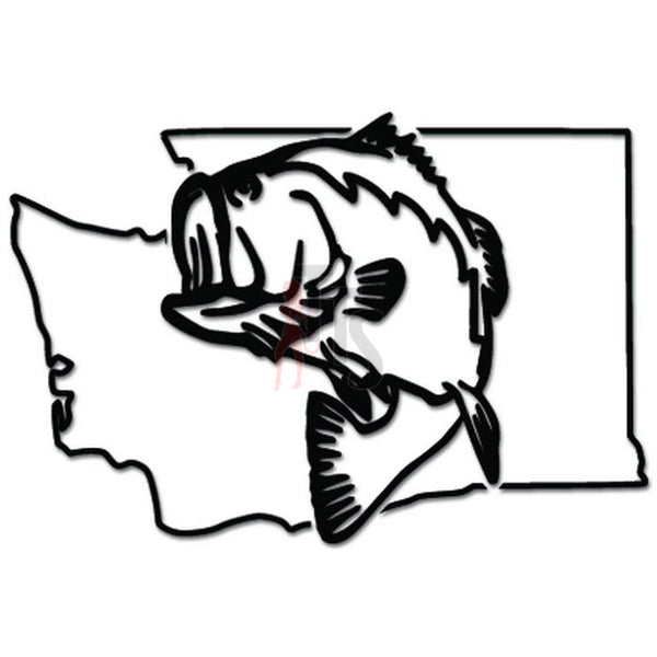 Washington State Largemouth Bass Fishing Decal Sticker