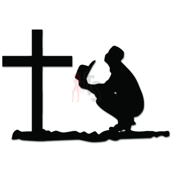 Cowboy Praying Cross Christian Decal Sticker