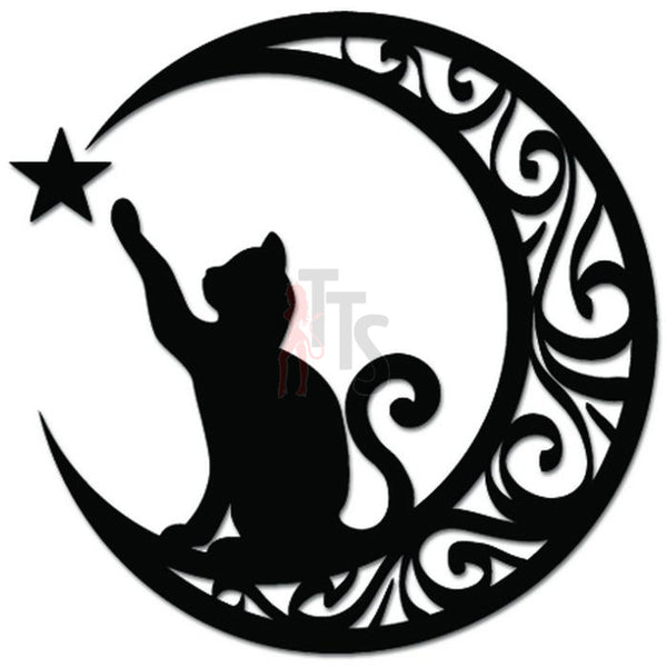 Cat Kitty Sitting Crescent Moon Decal Sticker