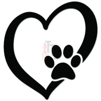 Dog Cat Paw Pet Lover Love Heart Decal Sticker