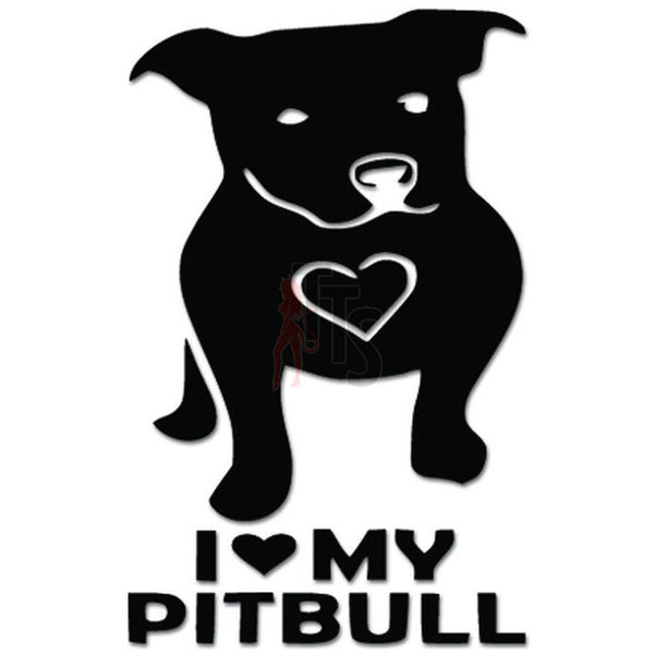 I Love My Pitbull Dog Pet Lover Heart Decal Sticker