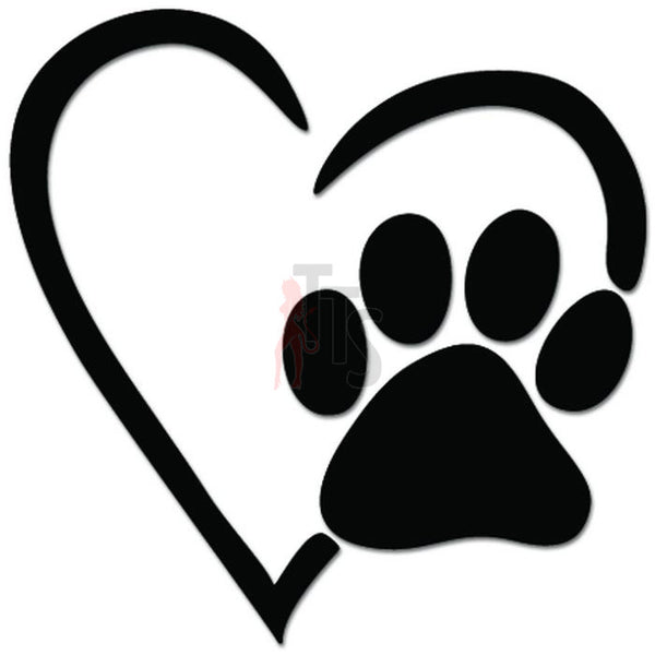 Heart Love Dog Paw Print Pet Lover Decal Sticker