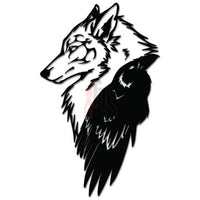 Tribal Wolf Raven Native American Decal Sticker