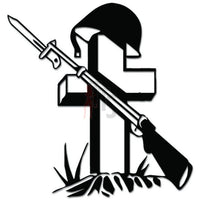 Fallen Soldier Grave Cross Rifle Helmet Decal Sticker