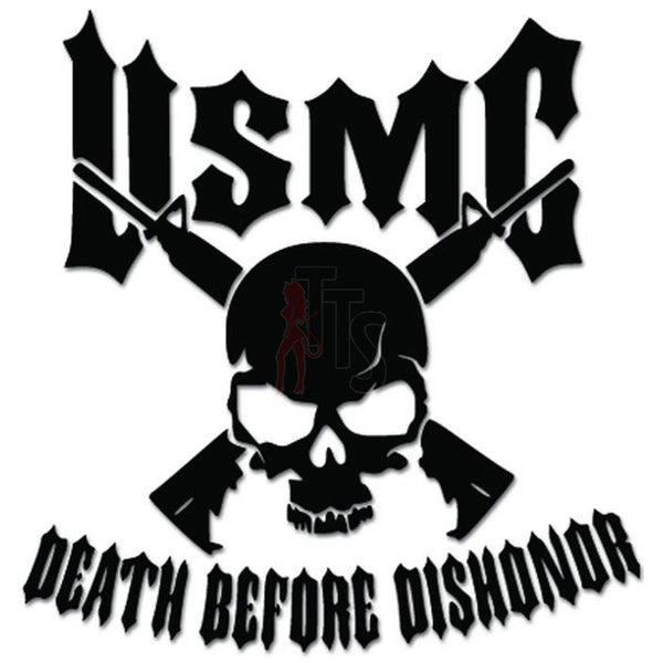 USMC Death Before Dishonor Skull Rifle Decal Sticker