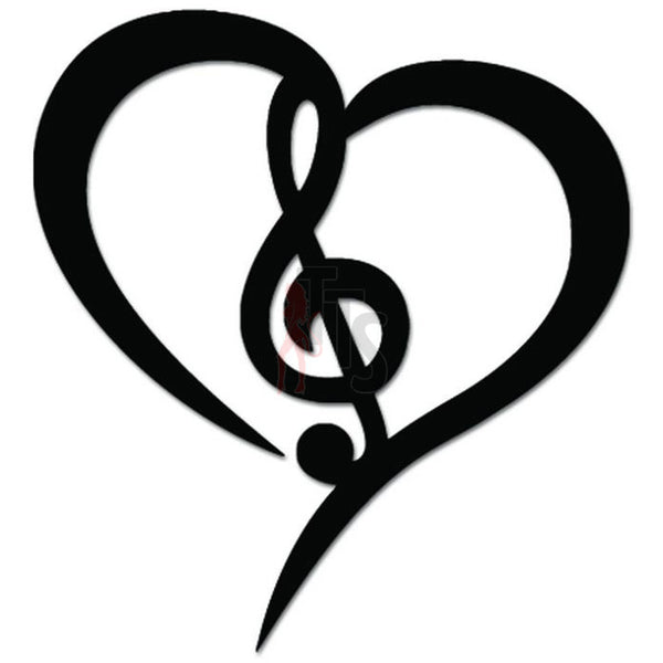 Music Note Heart Love Decal Sticker Style 4