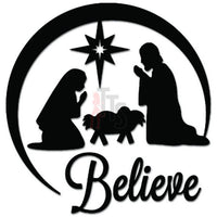 Believe Natvity Christmas Decal Sticker