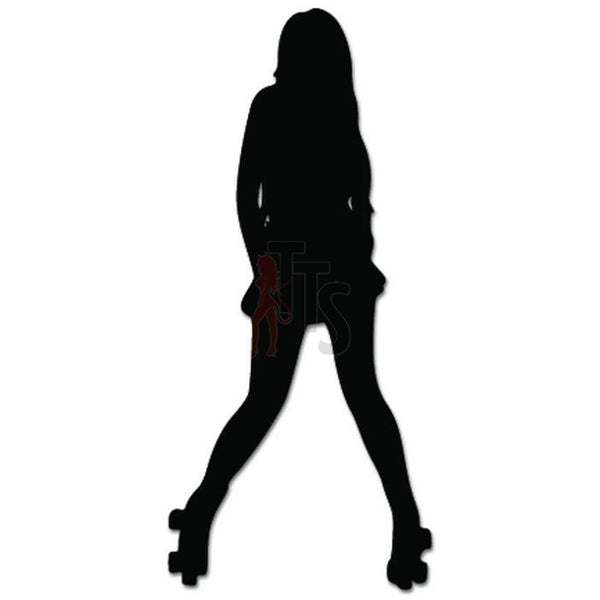 Sexy Girl Rollerskating Rollerskate Decal Sticker