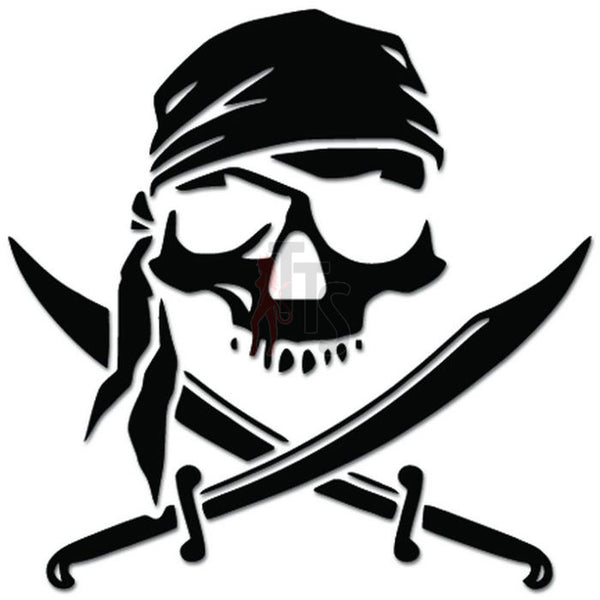Pirate Swords Death Skull Decal Sticker Style 1