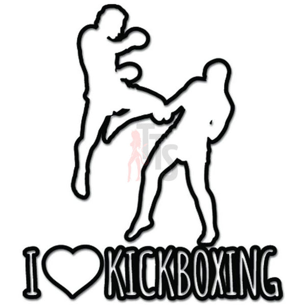 I Love Kickboxing Martial Arts Decal Sticker