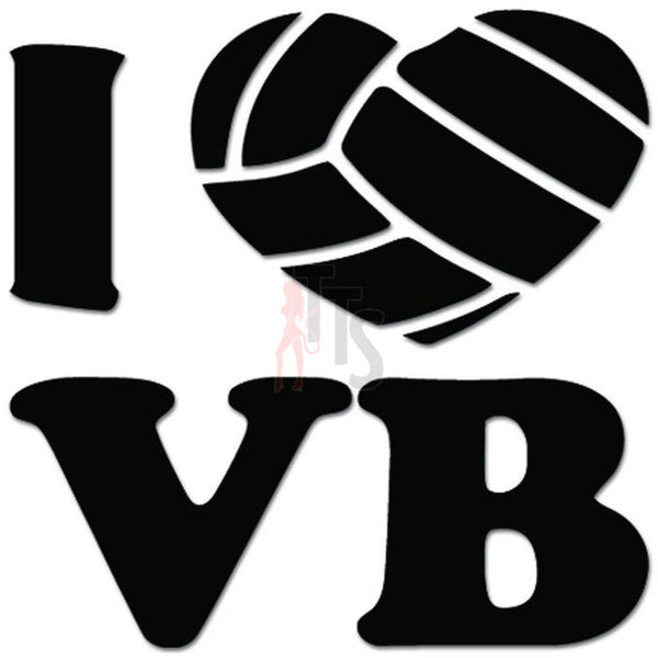 I Love Volleyball Sports Decal Sticker