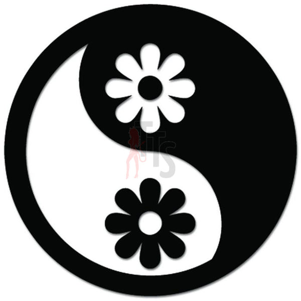 Ying Yang Daisy Flower Decal Sticker