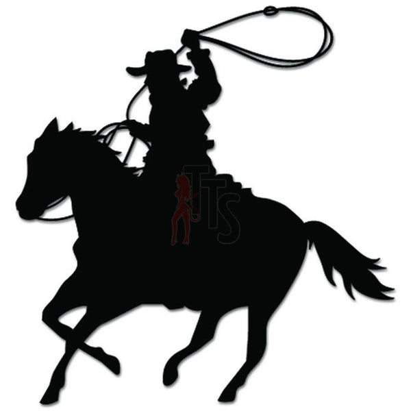 Cowboy Riding Horse Lasso Decal Sticker