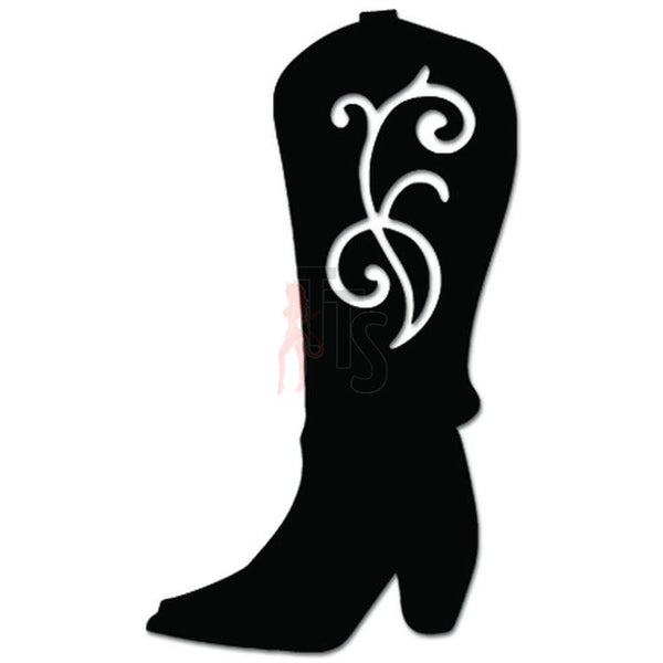 Cowgirl Boot Flower Vine Decal Sticker