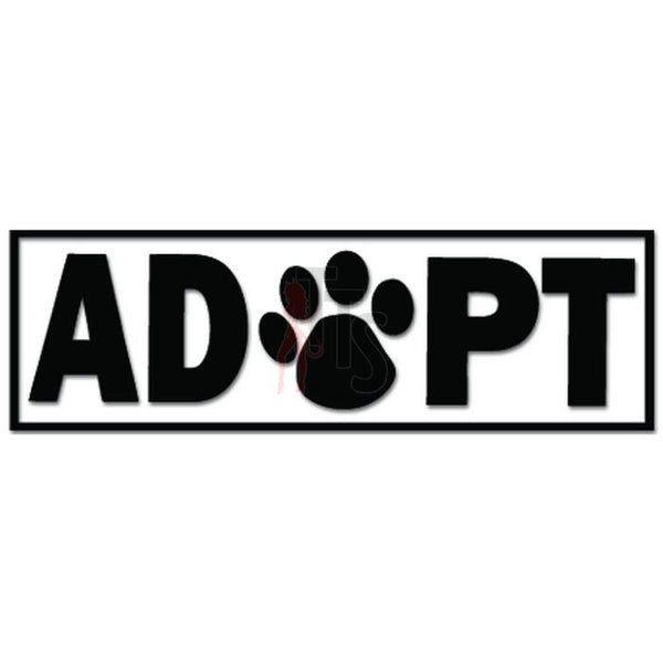 Adopt Dog Paw Print Pet Lover Decal Sticker