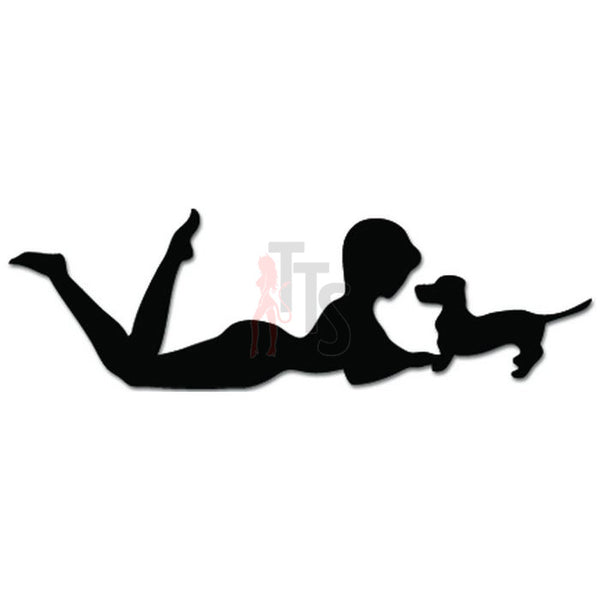 Girl Playing Dachshund Dog Puppy Pet Decal Sticker