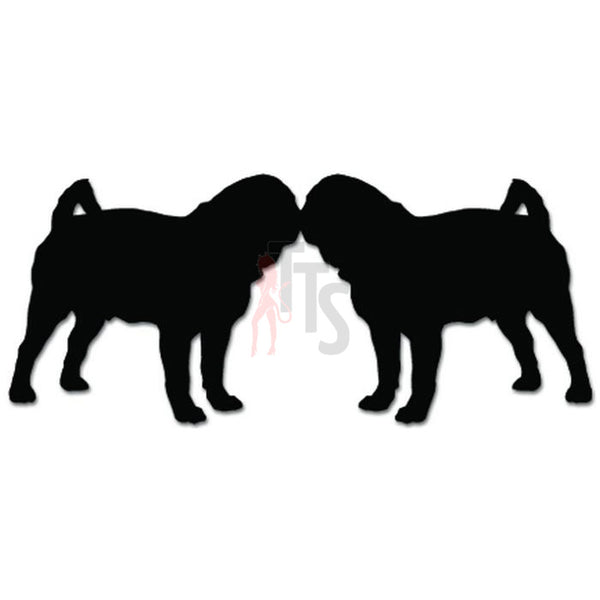 Two Pug Dogs Kissing Pet Lover Decal Sticker
