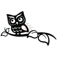 Cute Owl Standing On Tree Branch Decal Sticker
