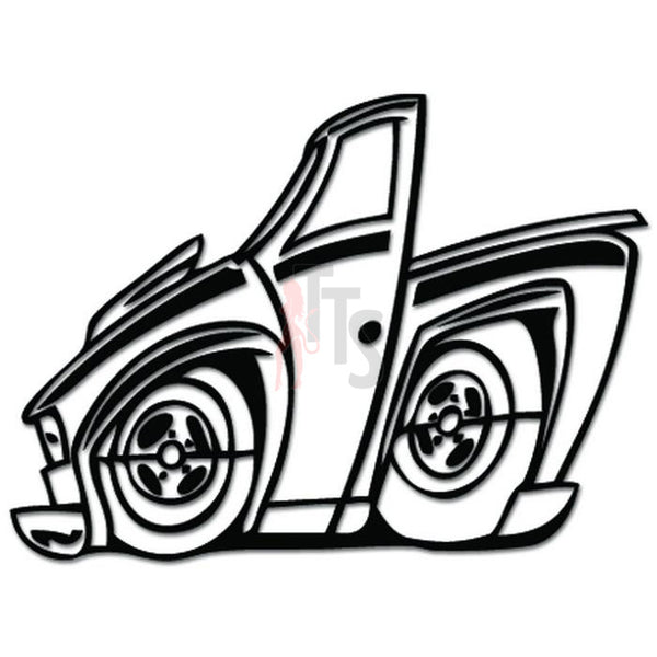 Low Rider Lowered Truck Cartoon Decal Sticker