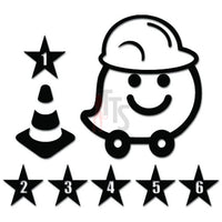 Waze Hardhat Cone GPS Navigation Decal Sticker Style 1