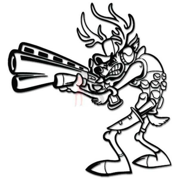 Deer Hunting Hunter Cartoon Decal Sticker