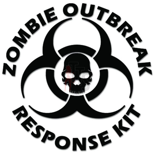 Zombie Outbreak Response Kit Biohazard Skull Decal Sticker