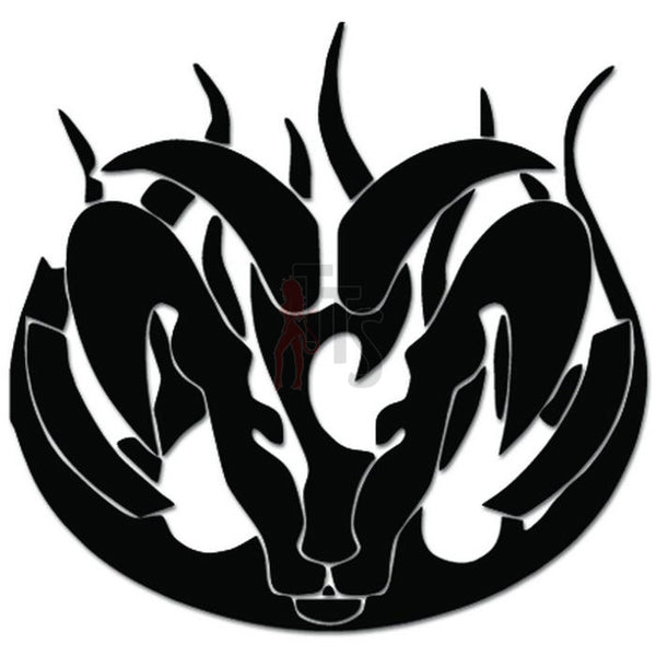 Tribal Ram Head Flame Flaming Fire Decal Sticker