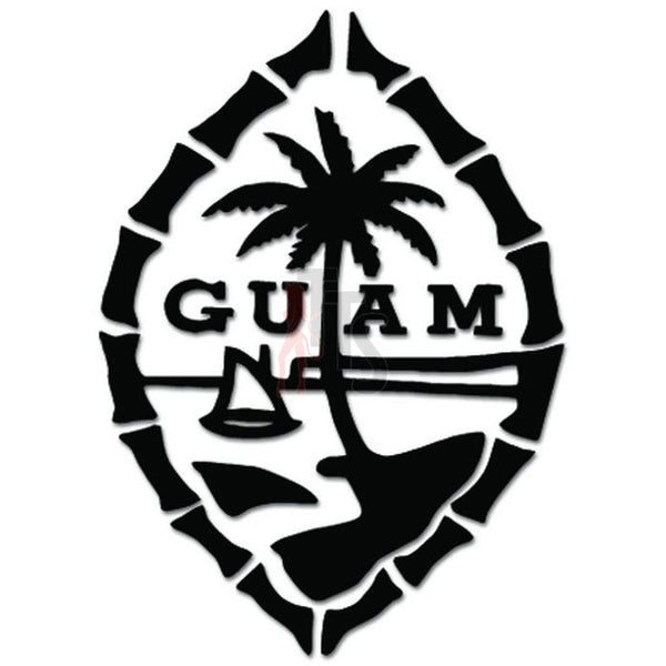 Guam Island Palm Tree Sailboat Decal Sticker