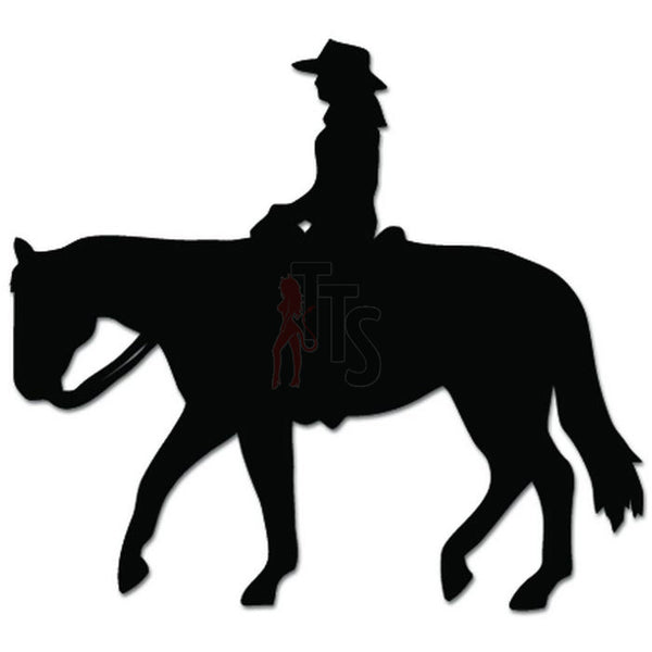 Cowgirl Horse Riding Decal Sticker Style 2