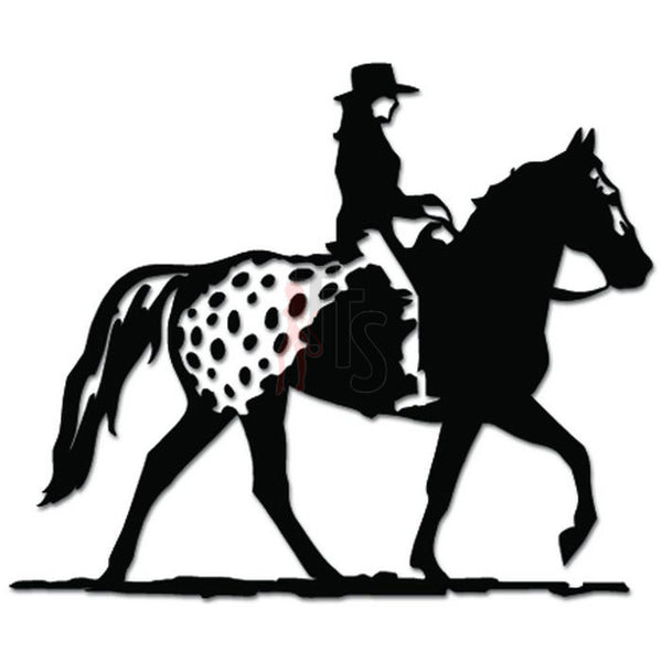 Girl Riding Appaloosa Horse Decal Sticker
